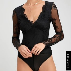 Lulu's black lace bodysuit
